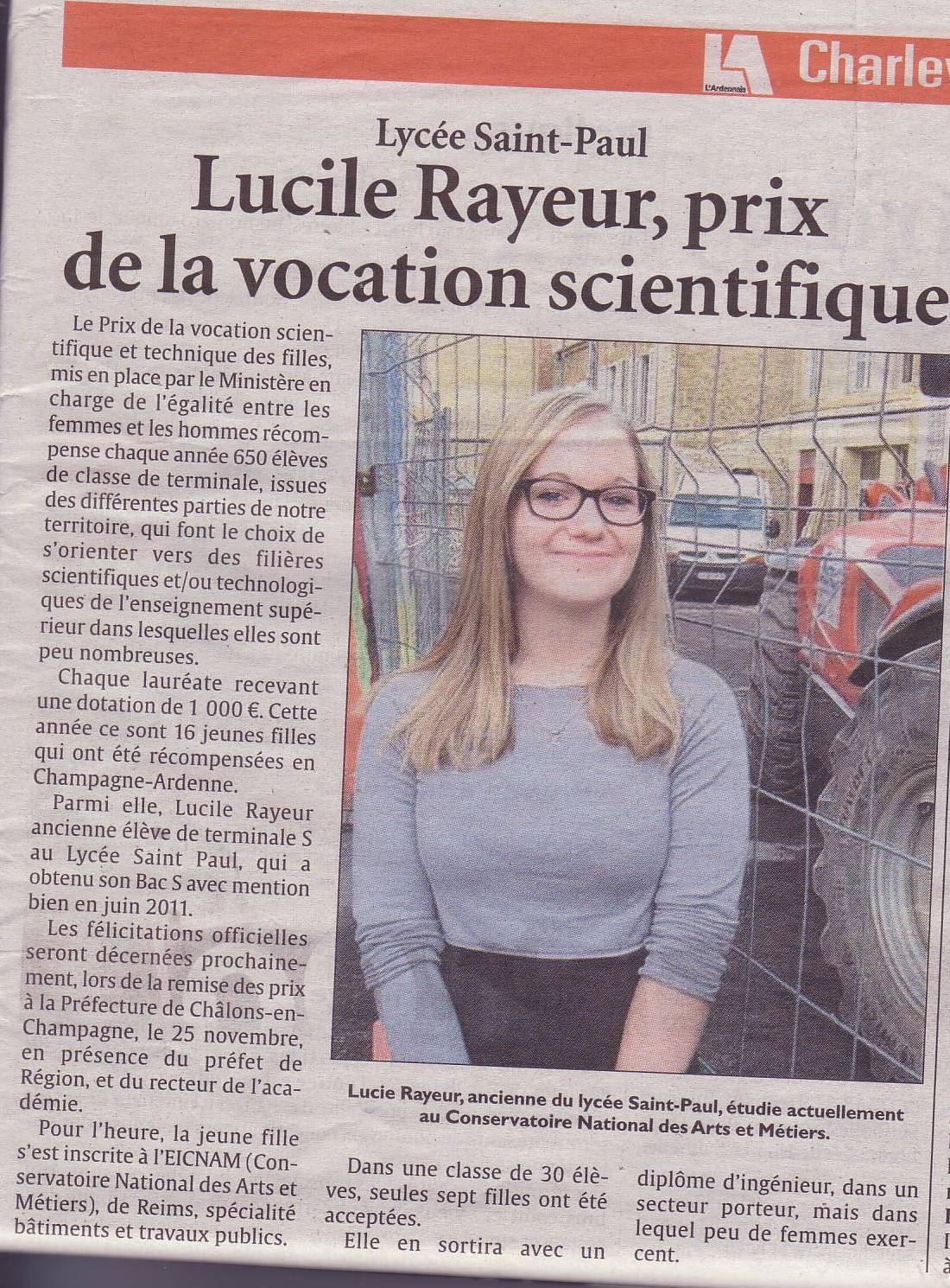 Lucie Rayeur, prix de la vocation scientifique